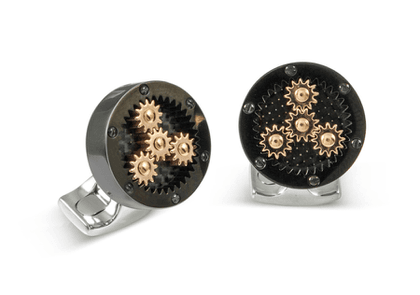Black and Rose Gold Sun and Planet Gear Cufflinks