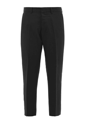 Ami - Cropped Virgin Wool Twill Trousers - Mens - Black