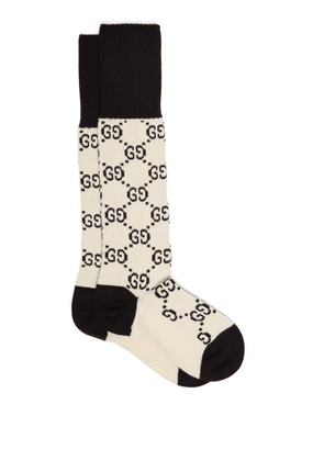 Gucci - Gg Intarsia Cotton Blend Knee High Socks - Womens - Ivory Multi