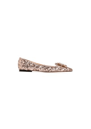 Dolce & Gabbana Crystal-embellished Sequined Leather Point-toe Flats Woman Rose Gold Size 35.5