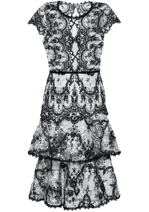 Marchesa Notte Corded Lace Paneled Embroidered Silk Organza