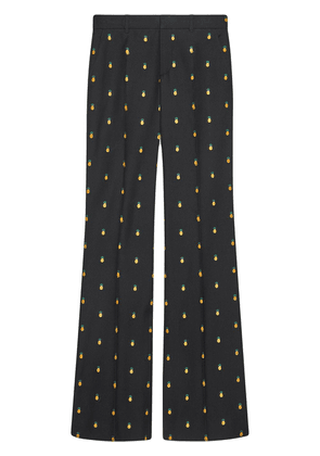 Gucci pineapple embroidered trousers - Black