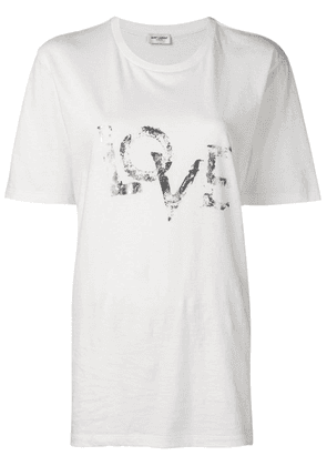 Saint Laurent faded LOVE printed T-shirt - White