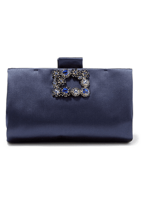 Roger Vivier - Crystal-embellished Satin Clutch - Navy