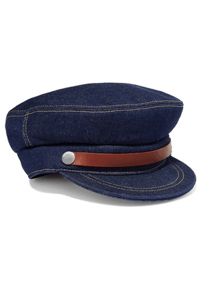JW Anderson - Fisherman Leather-trimmed Denim Cap - Indigo