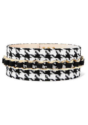 Balmain - Chain-embellished Houndstooth Tweed And Suede Waist Belt - Black