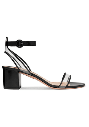 Aquazzura - Minimalist 50 Leather And Pvc Sandals - Black