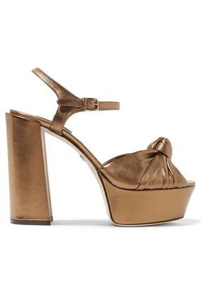Dolce & Gabbana - Knotted Metallic Leather Platform Sandals - Gold