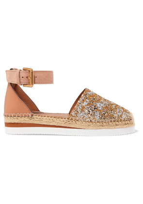 See By Chloé - Glittered Leather Platform Espadrilles - Gold
