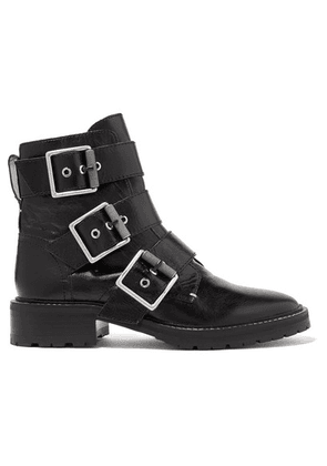 rag & bone - Cannon Buckled Glossed-leather Ankle Boots - Black