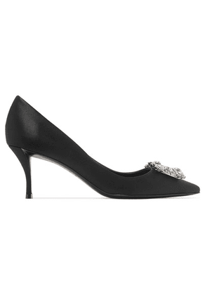 Roger Vivier - Flower Crystal-embellished Satin Pumps - Black