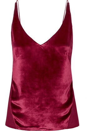 J Brand - Lucy Velvet And Silk-georgette Camisole - Red