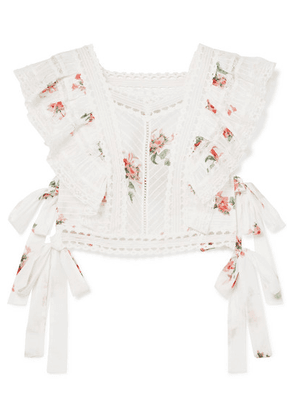Zimmermann - Heathers Satin And Lace-trimmed Ruffled Floral-print Cotton-voile Top - White