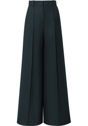 The Row - Isla Wool-twill Wide-leg Pants - Dark green