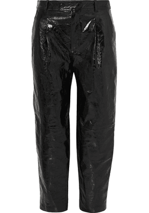 Givenchy - Glossed Textured-leather Straight-leg Pants - Black