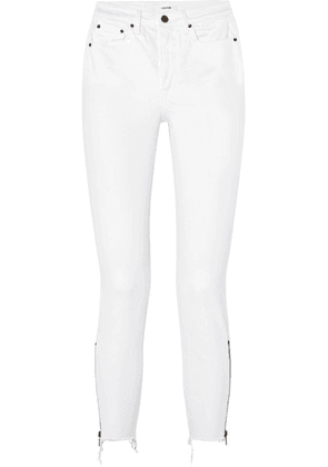 GRLFRND - Kendall Distressed High-rise Skinny Jeans - White
