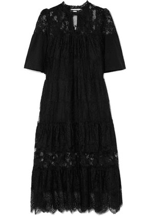 McQ Alexander McQueen - Cotton-trimmed Tiered Lace Dress - Black