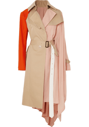 Sacai - Draped Pleated Cotton-blend Gabardine, Poplin, Georgette And Satin Trench Coat - Beige