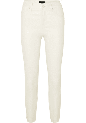 RtA - Madrid Cropped Leather Skinny Pants - Cream