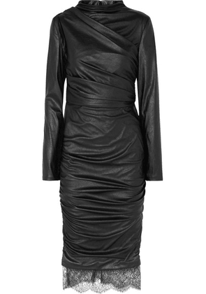 TOM FORD - Lace-trimmed Cutout Ruched Faux Leather Dress - Black