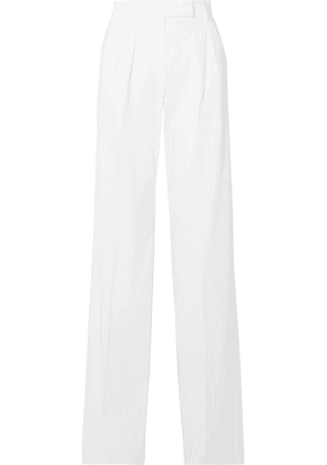 Max Mara - Messico Pleated Cotton-twill Wide-leg Pants - White