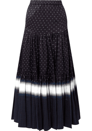 Tory Burch - Tiered Printed Cotton-voile Maxi Skirt - Midnight blue