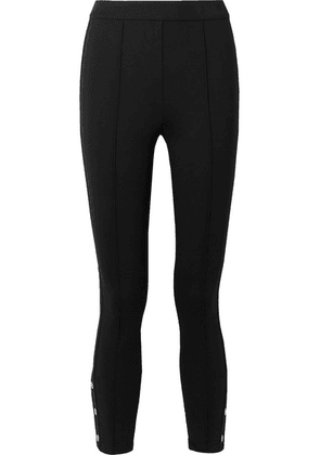 Tory Burch - Button-embellished Stretch-ponte Leggings - Black