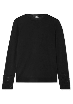 Akris - Bead-embellished Cashmere And Mulberry Silk-blend Sweater - Black
