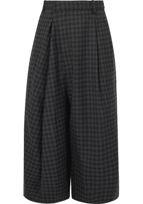 Maison Margiela - Asymmetric Checked Wool-blend Culottes - Gray