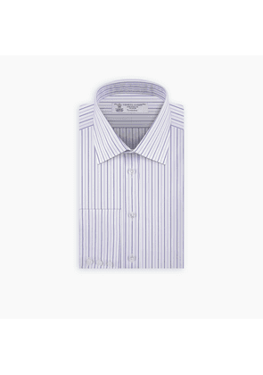 Purple Pinstripe Shirt with Classic T & A Collar and Button Cuffs