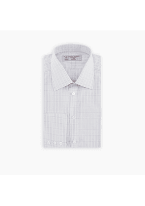 Grey Rectangle Check Shirt with T & A Collar and Button Cuffs