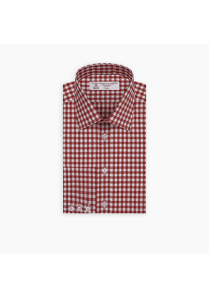 Red Gingham Wide Check Shirt with T & A Collar and Button Cuff