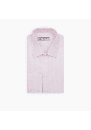 Pink and White Twill Check Shirt with T & A Collar and Button Cuffs