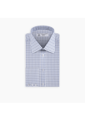 Blue and White Shadow Check Shirt with Classic T & A Collar and.