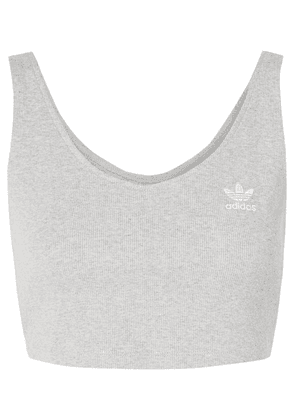 adidas Originals - Cropped Ribbed Stretch-cotton Jersey Tank - Gray