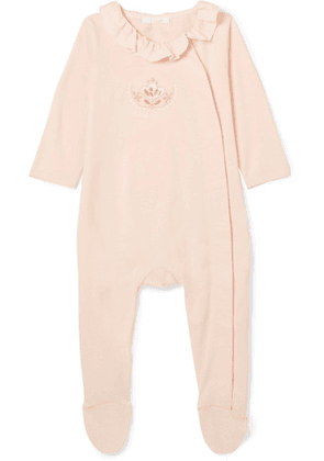 Chloé Kids - Months 1-18 Ruffled Embroidered Cotton-jersey Onesie - Pink