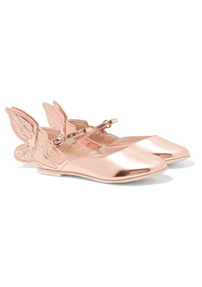 Sophia Webster Kids - Size 27 - 34 Chiara Embroidered Metallic Leather Ballet Flats