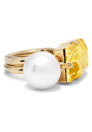 Dries Van Noten - Gold-tone, Faux Pearl And Crystal Ring - Yellow