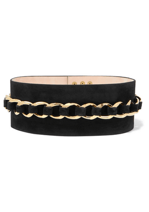 Balmain - Chain-embellished Suede Waist Belt - Black