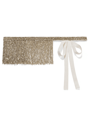 Dries Van Noten - Fringed Beaded Silk-grosgrain Belt - Gold