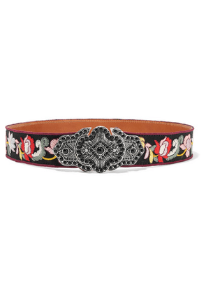 Etro - Embellished Embroidered Faille And Leather Waist Belt - Black