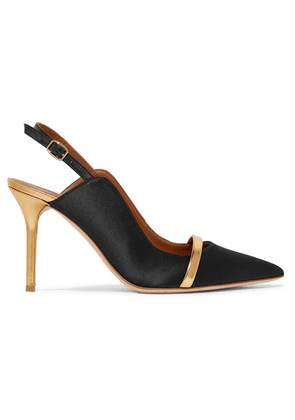 Malone Souliers - Marion 85 Metallic Leather-trimmed Satin Slingback Pumps - Black