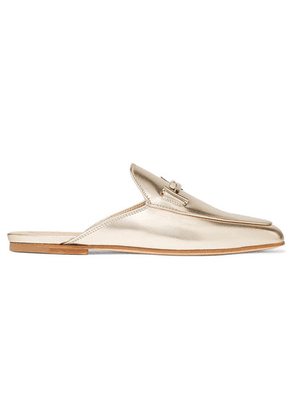 Tod's - Embellished Metallic Leather Slippers - Gold