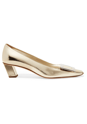 Roger Vivier - Belle Viver Decollete Metallic Textured-leather Pumps - Gold