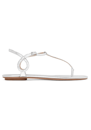 Aquazzura - Almost Bare Metallic Leather Sandals - Silver