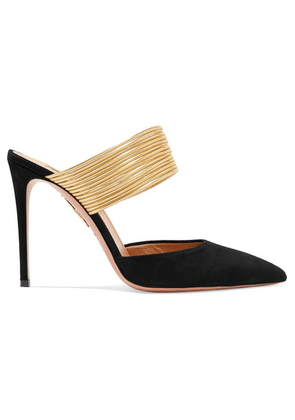 Aquazzura - Rendez Vous 105 Suede And Metallic Leather Mules - Black