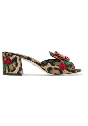 Dolce & Gabbana - Crystal-embellished Leopard And Floral-print Canvas Mules - Leopard print