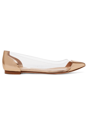 Gianvito Rossi - Metallic Leather And Pvc Point-toe Flats - Gold