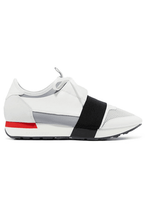 Balenciaga - Race Runner Leather, Suede, Mesh And Neoprene Sneakers - White