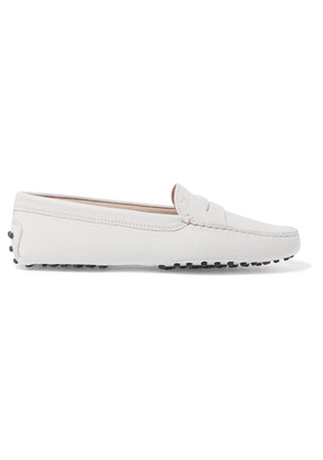 Tod's - Gommino Textured-leather Loafers - White